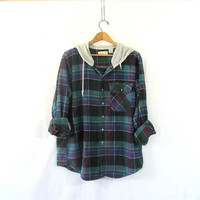 Vintage purple and green Plaid Flannel hoodie / Grunge Shirt jacket with hood / cotton button up shirt coat XL