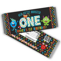 Chalk Monster Candy Bar Wrapper - Monster 1st Birthday Candy Wrappers - Little Monster Party Favors - Chocolate Bar Wrapper - Dots Monsters