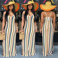 2020 new women's sexy color striped halter strap sling split dress