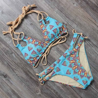 Women bikini set vintage swimsuit women halter top swimwear cut out bathing suit print  -03021