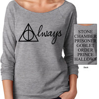 Harry Potter Always with Books on Back of Shirt Double Sidded // Harry Potter Slouchy Sweatshirt // Harry Potter Light Weight Terry Raglan