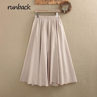 runback Spring Autumn Linen High Quality Solid Elastic Waist Mid Calf Jupe Longue The skirt Long A-line Japanes Mori Girl Style