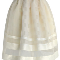 Sheer Organza Tulle Skirt in Beige Beige S/M