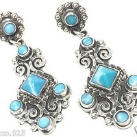 VINTAGE STYLE TAXCO MEXICAN STERLING SILVER DECO SCROLL LARIMAR EARRINGS MEXICO