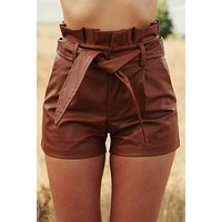 Salvador Faux Leather Shorts (Camel)