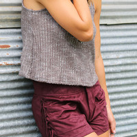 Time Will Tell Faux Suede Wine Pocket Shorts With Side Fringe