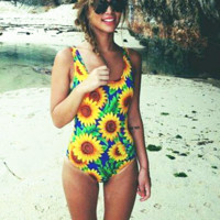 Yellow sunflower print one piece bikini show thin