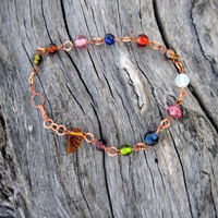 Bohemian anklet bracelet, unqiue foot jewelry with a hippy style, beaded anklet, ankle bracelet, copper anklet, gift for her, valentines day