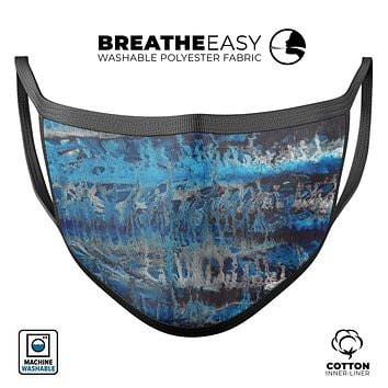Abstract Wet Paint Blues v8 - Made in USA Mouth Cover Unisex Anti-Dust Cotton Blend Reusable & Washable Face Mask with Adjustable Sizing for Adult or Child