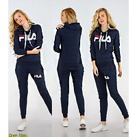 FILA Newest Fashion Women Casual Print Long Sleeve Hoodie Top Pants Sport Set Two Piece Navy Blue