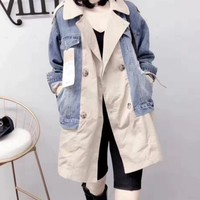 Women Leisure Fashion Popular Long Sleeve Loose Splice Spell Color Cowboy Fake Two Pieces Coat