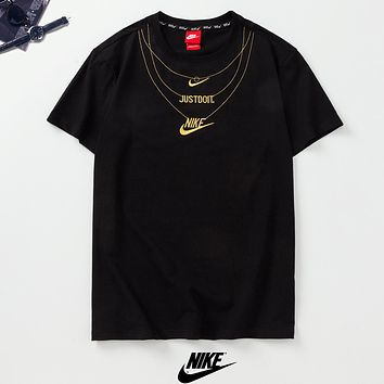 NIKE New fashion embroidery letter hook couple top t-shirt Black