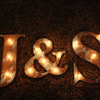 """14"""" Rusted metal letter, light, distressed, wedding, vintage chic, decor"""
