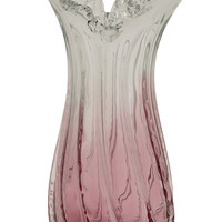 Benzara Contemporary Styled Glass Clear Pink Vase