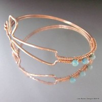 Wire Wrapped Copper Cross Bangle with 3 Turquoise Jasper Beads