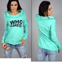"""""""Who Cares?"""" Letter Print Long Sleeve Knitted T-Shirt"""