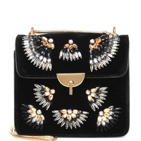 Embellished velvet shoulder bag