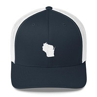 Wisconsin EmbroideredState Shape Trucker Cap