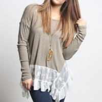 Knit Sweater with Lace Contrast