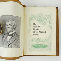"""Antique Holmes Poems Book, Rare 1800s Leather Bound Poetry Book, Limp Structure Book, Soft Cover Poems Book, Oliver Wendell Holmes """"Poems"""""""