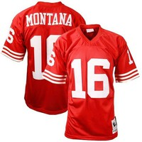Mens San Francisco 49ers Joe Montana Mitchell & Ness Scarlet Authentic Throwback Jersey