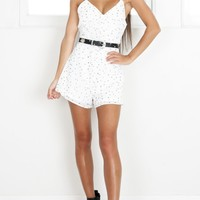 Sassy Minx playsuit in white print Produced By SHOWPO