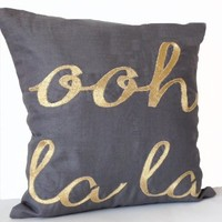 """Amore Beaute Ooh La La Custom Throw Pillow Covers in Gray Linen - Handcrafted Decorative Pillow Cover - Embroidered Pillowcase - Gift for Her - Wedding Anniversary Gift (18"""" X 18"""")"""