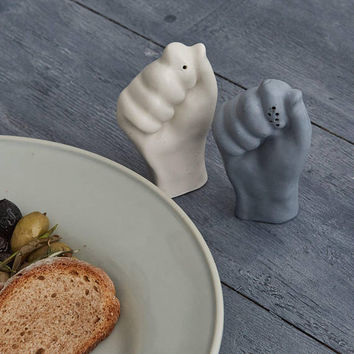 Ceramic, Porcelain, Handmade, Unique Design Salt and Pepper Shakers