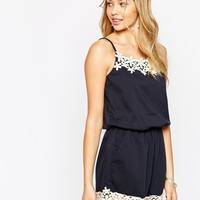 Darccy Cami Playsuit with Daisy Lace Trim
