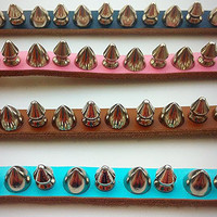 Super Mega Spiked Dog Collar GENUINE LEATHER  - Small Pink Seafoam Blue Black Brown Pet Accessories