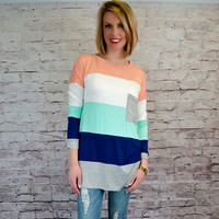 Color Block Long Sleeve Tunic