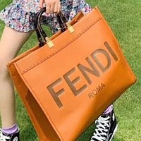 Fendi New fashion letter print leather handbag shoulder bag crossbody bag Brown