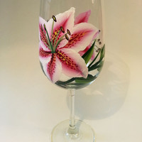 Hand Painted Stargazer Lilies Wine Glass 18.5 oz
