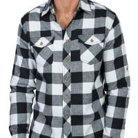Mens Casual Long Sleeve Plaid Button Down Shirt with Pocket