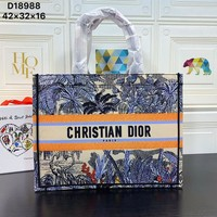 DIOR WOMEN'S OBLIQUE CANVAS BOOK HANDBAG SHOPPING BAG TOTE BAG