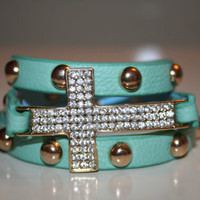 Adjustable Cross Snap Bracelet -   *** Available in Mint, Pink, White, Black, Red, Tan ***