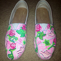 Lilly Pulitzer Delta Zeta Sorority Painted Toms