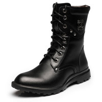 British Style High-top Platform Genuine Leather Martin Boots Skull Motocycle Army Boots