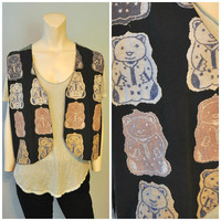 Vintage 1990's Patchwork Bear Vest Weird 90's Embroidered Patches Bears in Pajamas Size Medium Bohemian Vest by SOHO Compagnie Hippie