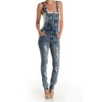 Women's Stone Washed Denim Ripped Overalls