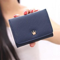 Wallet Female 2017 New Crown Lady Short Women Wallets Mini Money Purses Fold PU Leather Bags Female Coin Purse Card Holder
