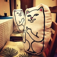 Pillow White Middle Finger Cat Funny Cushion for Sofa Bed Home Decoration Creative Gift Smile Cat Pillow 43x33x16cm