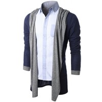 Doublju Mens Ribbed Shawl Collar Open Front Cardigan KMOCAL036