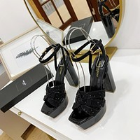 ysl women casual shoes boots fashionable casual leather women heels sandal shoes 173