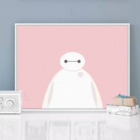Hero Pink Baymax Pop Movie Anime A4 Large Art Prints Poster Cartoon Wall Pictures Canvas Painting No Framed Kids Room Home Decor