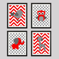 Red Gray Owl Giraffe Bird Elephant, CUSTOMIZE YOUR COLORS, 8x10 Prints, set of 4, nursery decor nursery print art baby room decor kids