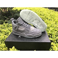 KAWS x Air Jordan 4 XX Kaws Cool Grey White Glow Men Basketball Shoes
