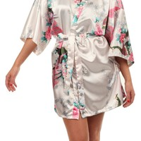 VEAMI Women's Kimono Robe, Peacock Design-White-Small/Medium, Short