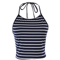 New Black Stripe Sleeveless Halter neck tank top women Top Vest Bustier Bra Women Summer top cropped for women Sexy Women Top