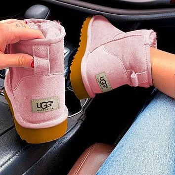 """""""UGG"""" Women Male Fashion Wool Snow Boots  Warm shoes Pink"""